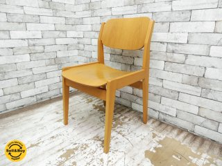 天童木工 TENDO ブックチェア ダイニングチェア S-0507NA-NT 板座 水之江忠臣 図書館椅子 B ●