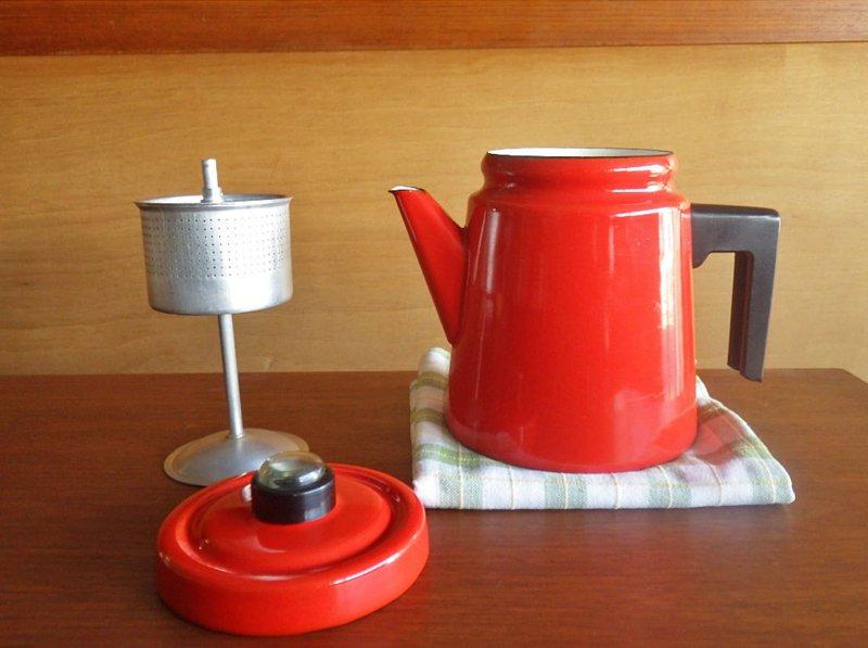 フィネル FINEL アラビア ARABIA フィンランド アンティ・ヌルメスニエミ 60-70's ビンテージ パーコレーター付き ホーローケトル コーヒーポット レッド (赤橙) 1.5L ◇