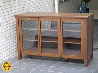無印良品 MUJI 木製キャビネット3枚扉 バーチ材 ガラス扉 食器棚 ブラウン シンプルデザイン ■