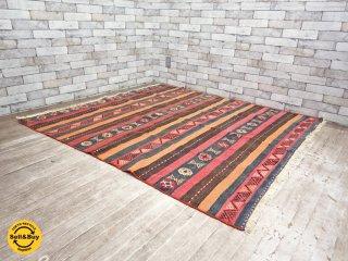 キリム柄 手織り ウール ラグ イラン産 157×170 cm ●