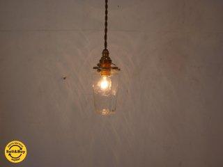 安土 草多 ガラス作家 ペンダントライト 八角瓶 クリアガラス ゆらゆら Octagonal bottle jar E17 電球★