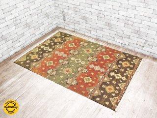 キリム柄 手織り ウール ラグ 絨毯 イラン産 122×184 cm ●