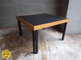 ビンテージ ローテーブル サイドテーブル ブラック天板 × スチールレッグ ミッドセンチュリーデザイン ♪