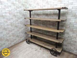 インダストリアル シェルフ アイアン×古材×鉄ホイール W184cm ディスプレイ 店舗什器 ビンテージスタイル ●