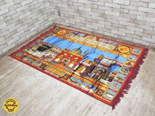 中東 モスクワの風景 ラグ 絨毯 188×123cm ●
