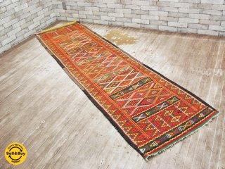 キリムラグ ランナー マット 絨毯 77×282cm●