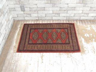 トルクメン産 オールドキリム ラグ マット 絨毯 95×65cm ●