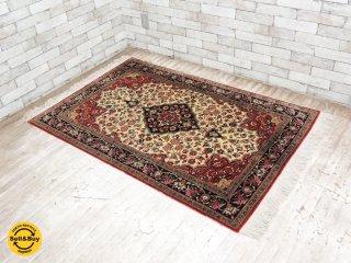 高級 ペルシャ絨毯 アラベスク模様 イラン(カシャーン)産 148×103cm ●