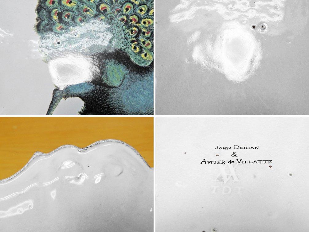 アスティエ・ド・ヴィラット ASTIER de VILLATTE ジョン・デリアン JOHN DERIAN 孔雀 デザートプレート 28cm ●