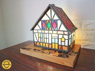 ステンドグラス ランプ ハウスランプ 家 デスクランプ 煙突付き オブジェ ◎