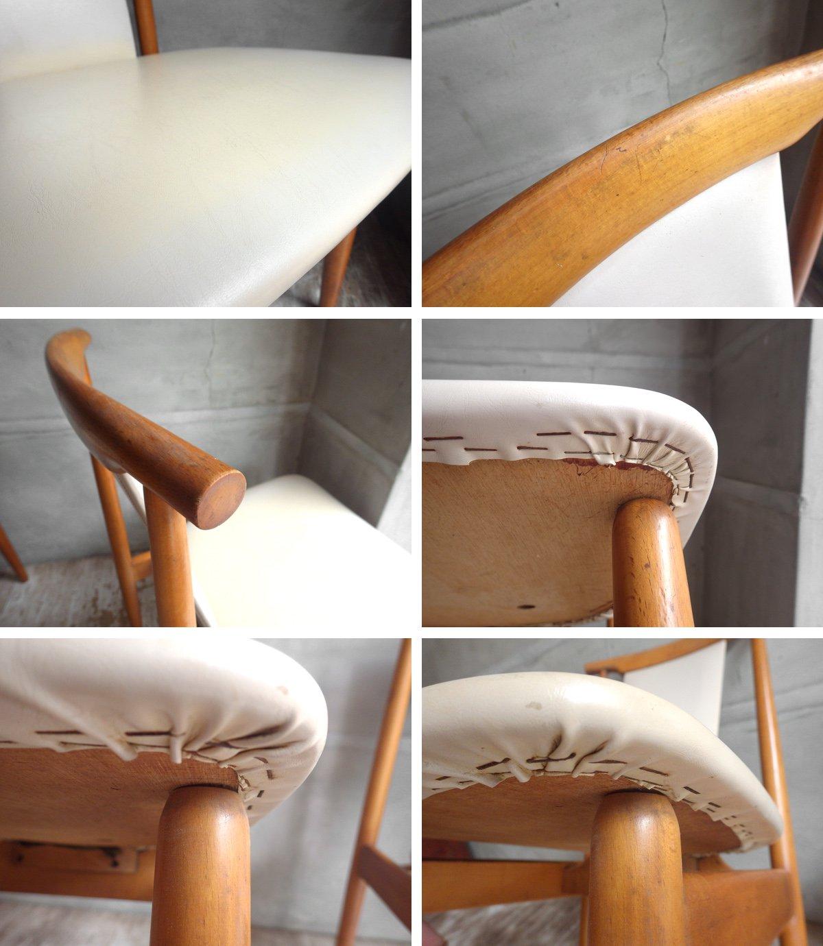 飛騨産業 キツツキマーク ビンテージ ダイニングチェア 2脚セット ビーチ材 A ♪