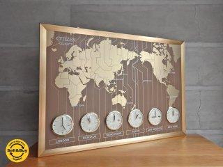 シチズン CITIZEN ワールドタイム 601 壁掛け時計 世界時計 ビンテージ♪