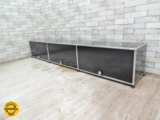 USMモジュラーファニチャー ハラーシステム AVボード×3 TV台 ブラック フリップアップドア ●
