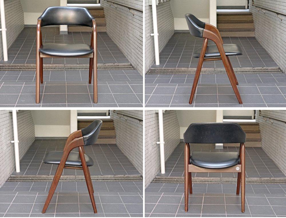 辻木工 70's ジャパンビンテージ ダイニングアームチェア 北欧デザイン B ■