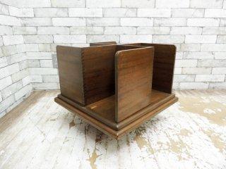 昭和レトロ 回転式 木製ブックスタンド 本棚 ディスプレイ 店舗什器 ●