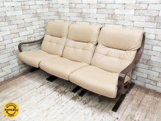 冨士ファニチア FUJI Furniture セパレート 3人掛け ソファ イージーチェア 3脚セット ベージュ ●