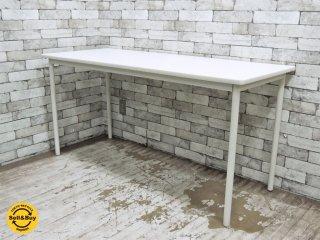 無印良品 MUJI スチールフレーム デスク ワークテーブル ホワイト 天板  w150 ●