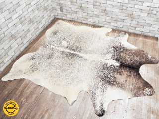 大判 カウラグ 牛革 カーペット ラグマット 毛皮 ハラコ 敷物 237×198cm ●