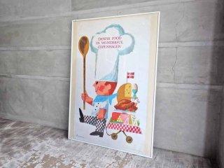 デンマーク製 イブ・アントーニ Ib Antoni デザイン ヴィンテージポスター 『 クリスマスのごちそう 』 ♪