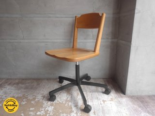 飛騨産業 HIDA キツツキマーク デスクチェア 学習椅子 昇降式 キャスター付き♪