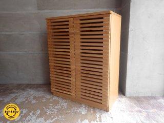 ウニコ unico レイン LIJN キャビネット ナチュラル ニレ材 リビングボード シューズボックス 本棚 収納棚 W74.5cm ♪