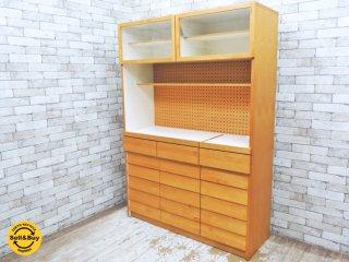ウニコ unico トゥオ TUO キッチンボード カップボード 食器棚 アルダー材 W126cm 廃番アイテム 広松木工製 ●