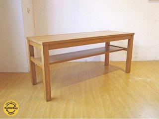 無印良品 MUJI 木製ベンチ タモ材 無垢集成材 板座 ベンチ テーブル ナチュラル ★