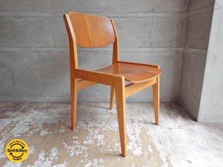 天童木工 TENDO ビンテージ ブックチェア 図書館椅子 ダイニングチェア チーク材 水之江忠臣 A♪