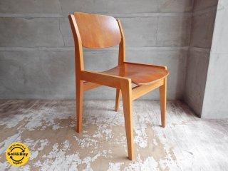 天童木工 TENDO ビンテージ ブックチェア 図書館椅子 ダイニングチェア チーク材 水之江忠臣 B♪