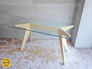 イーアンドワイ E&Y ペガサス PEGASUS ガラス ダイニングテーブル ホワイト アレックス・マクドナルド Alex Macdonald 幅140cm Sサイズ ♪