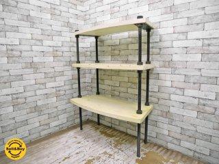 インダストリアルデザイン ボルト × ウッド オープンシェルフ 3段 ホワイトペインテッド ディスプレイラック 店舗什器 シャビー ●