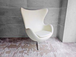 アルネ・ヤコブセン Arne Jacobsen エッグチェア Egg chair リプロダクト品 合皮 アイボリー ♪
