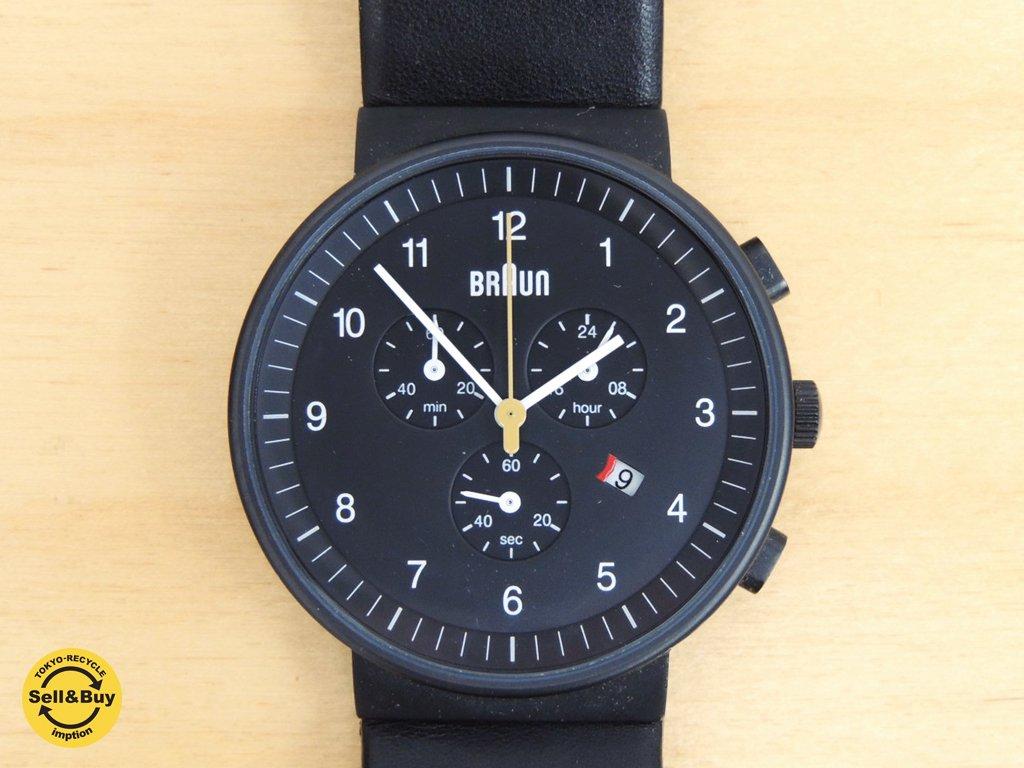 ブラウン BRAUN クォーツ 腕時計 クロノグラフ BN0035BKBKG メンズモデル ケース付 ●