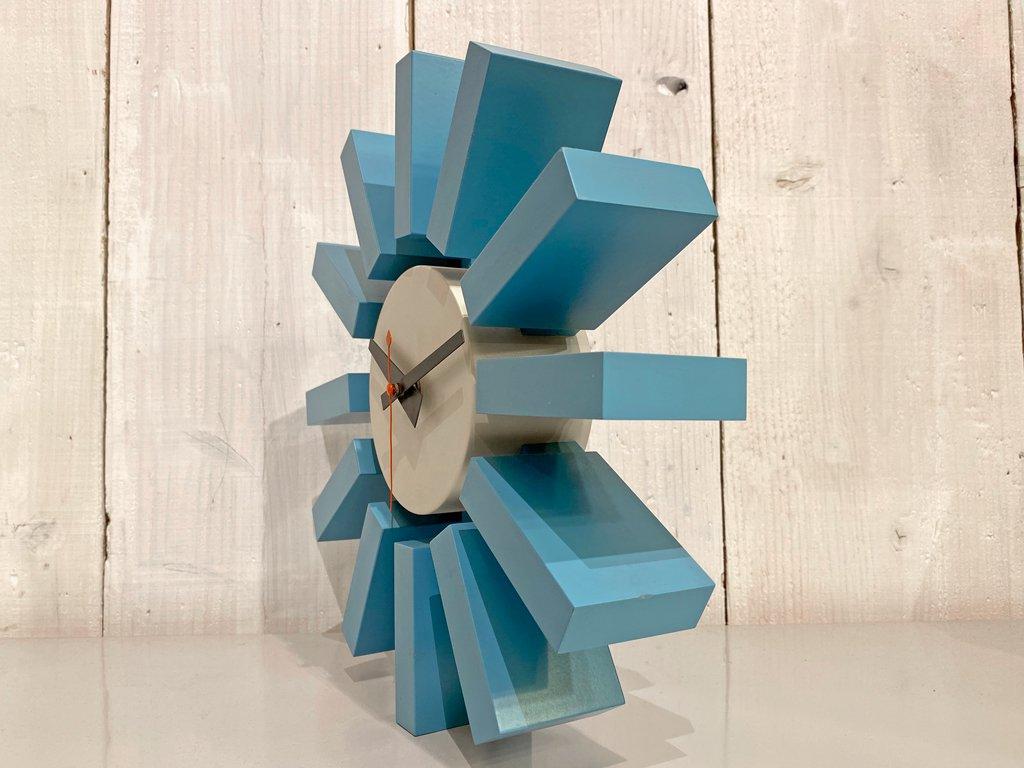 ヴィトラ Vitra ジョージネルソン George Nelson ブロッククロック Block Clock 壁掛け時計 ウォールクロック ブルー ■