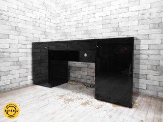 モダンデザイン デスク ブラック ピアノフィニシュ W162 IDC大塚家具購入品 ●