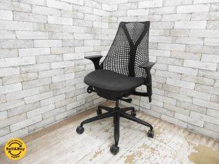 ハーマンミラー Herman Miller セイルチェア SAYL Chair サスペンション ミドルバック アジャスターダブルアーム リクイライニング 前傾チルト ブラックフレーム ●