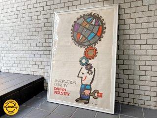 デンマーク製 イブ・アントーニ Ib Antoni デザイン ヴィンテージポスター 額装 北欧 ■