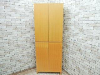 無印良品 MUJI 組み合わせて使える木製収納 本棚 タモ材 ハイタイプ ナチュラルカラー 木扉付き 奥行40cm 可動棚8枚 ●