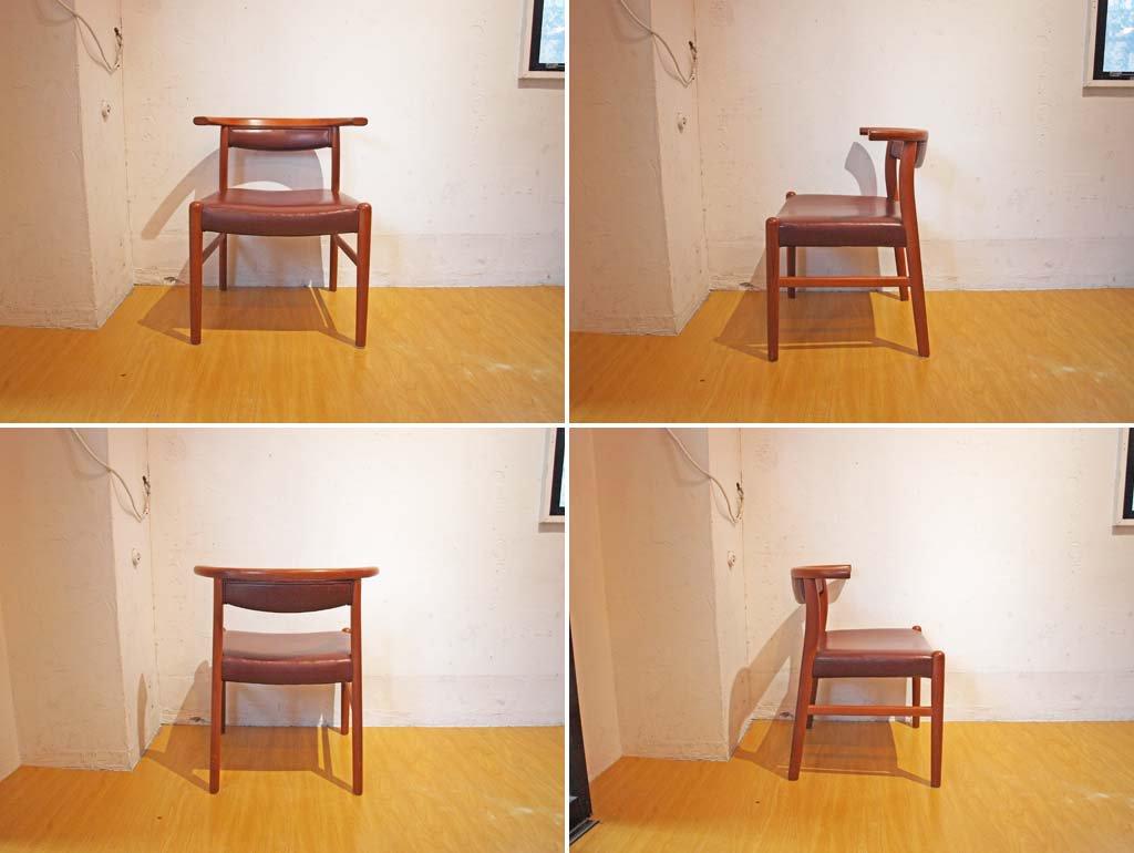 青林製作所 チーク無垢材 ダイニングチェア ハーフアームチェア 日本 希少なビンテージ家具 北欧Style A ★