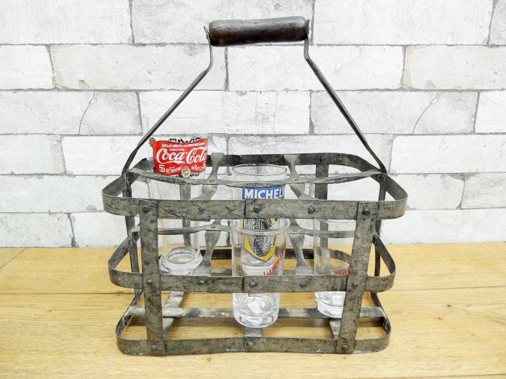 UKビンテージ アイアン製 ボトルキャリア ボトルホルダー 持ち手付き ●