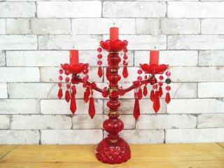 エイチピーデコ H.P.DECO 取扱い シャンデリア テーブルランプ ガラス製 クリアレッド ヨーロピアンスタイル ●