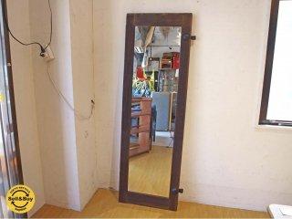 古材フレーム スタンドミラー Stand Mirror 古建具 姿見 立て掛け鏡 アンティーク 店舗什器 スタイルミラー ★