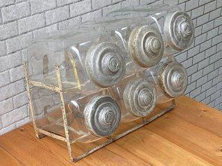 昭和レトロ 駄菓子瓶 キャニスター 6連 古ガラス×アルミ蓋 ビンテージ 希少珍品 ■