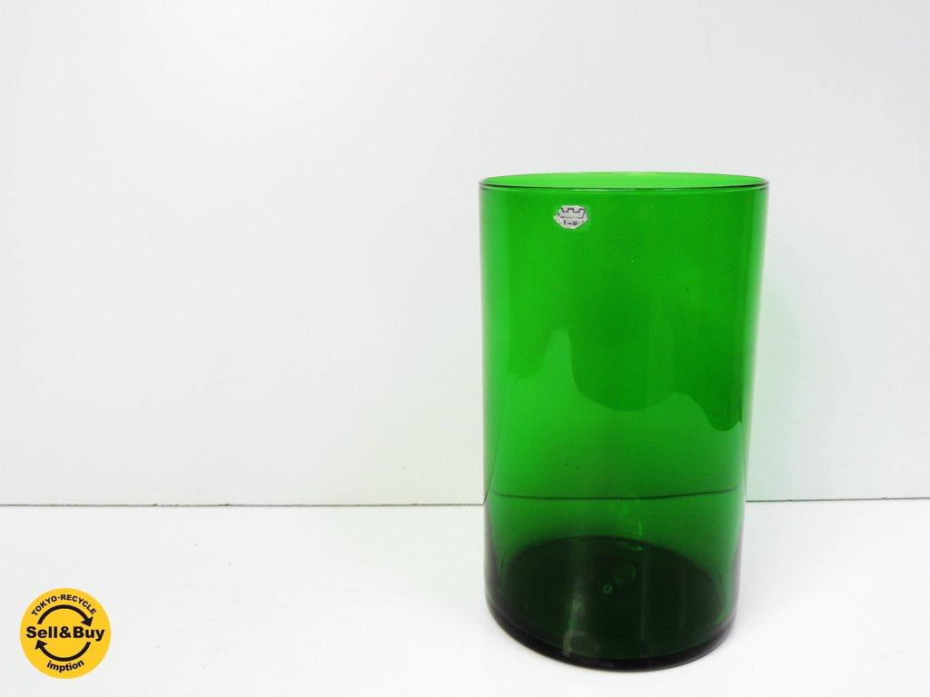 アラビア ARABIA #3417 フラワーベース ガラス グリーン カイ・フランク Kaj Franck シール付 ●
