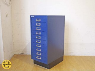 ビスレー BISLEY BASICシリーズ BA29/10 A4 スチールキャビネット ブルー 10段 デスク袖 イギリス ★