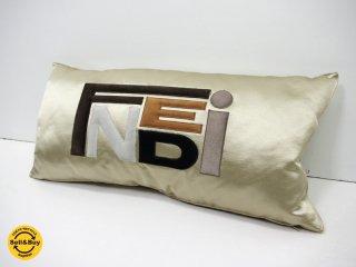 フェンディ FENDI ロゴ クッション コットン×シルク 美品 ●