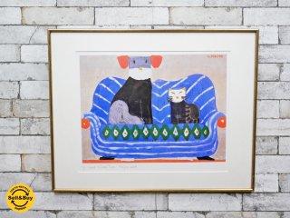 ラウラ・フューメ Laura Fiume 犬と猫 シルクスクリーン アートポスター 額装品 ●
