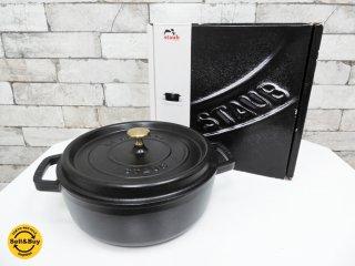 ストウブ Staub ピコ ココット ラウンド 両手鍋 ホーロー鍋 ブラック 26cm 箱付き ●