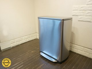 シンプルヒューマン simplehuman レクタンギュラーカン 2コンパートメント ポケット付 ステンレス 46L ゴミ箱 ダストボックス ◎