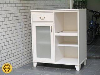 モモナチュラル MOMO Natural ランド LAND タイル天板 スライド棚 キッチンカウンター パイン材 ホワイト ■